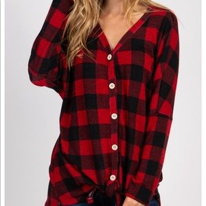 Buffalo Plaid Front Tie Top